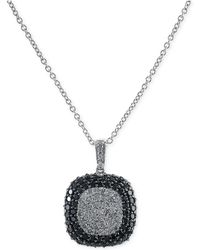 Effy Collection - Effy Black And White Diamond Square Pendant Necklace In 14k White Gold (2 Ct. T.w.) - Lyst