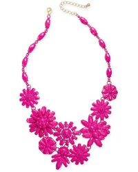 """INC International Concepts - I.n.c. Gold-tone Beaded Flower Statement Necklace, 18"""" + 3"""" Extender, Created For Macy's - Lyst"""