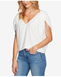 1.STATE - V-neck Drawstring-sleeve Top - Lyst