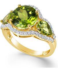 Macy's - Peridot (4-3/8 Ct. T.w.) And Diamond (3/8 Ct. T.w.) Three-stone Ring In 14k Gold - Lyst