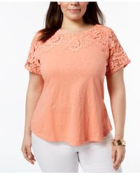 Charter Club - Plus Size Cotton Crochet-detailed T-shirt, Created For Macy's - Lyst