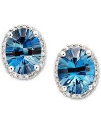 Macy's - London Blue Topaz (4-1/2 Ct. T.w.) And Diamond (1/8 Ct. T.w.) Oval Stud Earrings In 14k White Gold - Lyst