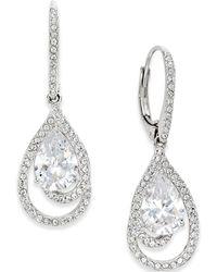 Danori - Silver-tone Crystal Teardrop And Pavé Drop Earrings - Lyst