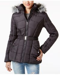 Rampage - Faux-fur-trim Belted Puffer Coat - Lyst