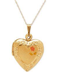Macy's - Engraved Heart Locket Pendant Necklace In 10k Gold - Lyst