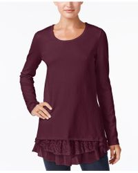 Style & Co. - Mixed-media Tunic Jumper - Lyst