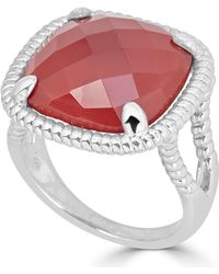 Macy's - Red Agate Twist Frame Statement Ring In Sterling Silver - Lyst