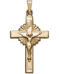 Macy's - 14k Gold Pendant, Starburst Crucifix - Lyst