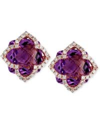 Effy Collection - Amethyst (6-1/4 Ct. T.w.) And Diamond (1/3 Ct. T.w.) Clover Stud Earrings In 14k Rose Gold - Lyst