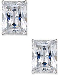 Arabella - Swarovski Zirconia Emerald-shape Stud Earrings In 14k White Gold - Lyst