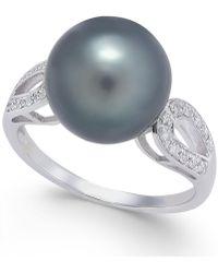 Macy's - Cultured Tahitian Pearl (11mm) & Diamond (1/10 Ct. T.w.) Ring In 14k Gold - Lyst