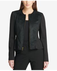 DKNY - Faux-suede Peplum Jacket, Created For Macy's - Lyst