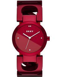DKNY - City Link 36 Mm Stainless Steel Bracelet Watch — Red - Lyst