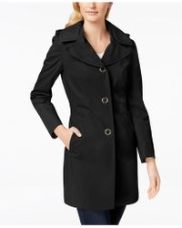Anne Klein - Hooded Lightweight Trench Coat - Lyst