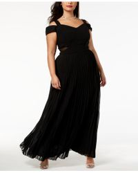 Xscape - Plus Size Cold-shoulder Pleated Gown - Lyst