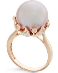 Macy's - Pink Windsor Pearl (13mm) And Diamond (1/5 Ct. T.w.) Ring In 14k Rose Gold - Lyst