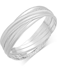 Touch Of Silver - Textured Interlocking Bangle Bracelet In Silver-plated Metal - Lyst