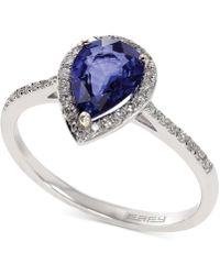 Effy Collection | Diffused Sapphire (1 Ct. T.w.) And Diamond (1/6 Ct. T.w.) Pear Ring In 14k White Gold | Lyst