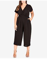 City Chic - Trendy Plus Size Surplice Neckline Cropped Jumpsuit - Lyst