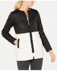 3b4de25b1f4ba Lyst - Calvin Klein Performance Plus Size Mixed-Media Puffer Jacket ...