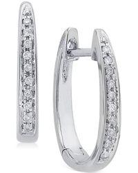 Macy's | Diamond (1/10 Ct. T.w.) Channel-set Hoop Earrings In 14k White Gold | Lyst