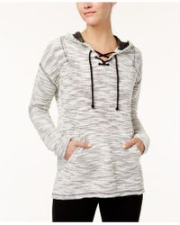 Style & Co. - Textured Lace-up Hoodie, Created For Macy's - Lyst