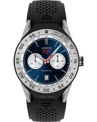 Tag Heuer - Men's Swiss Modular Connected 2.0 Carrera Black Rubber Strap Smart Watch 45mm Sbf8a8014.11ft6076 - Lyst
