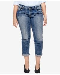Silver Jeans Co. - Plus Size Sam Distressed Boyfriend-fit Cropped Jeans - Lyst