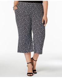 Michael Kors - Michael Plus Size Cropped Leopard-print Wide-leg Pants - Lyst