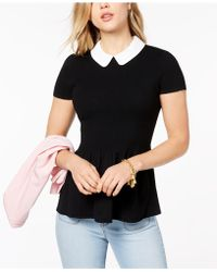 Maison Jules | Peter-pan-collar Peplum Sweater, Created For Macy's | Lyst