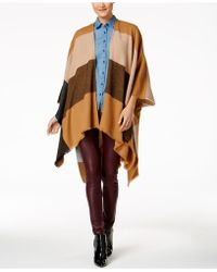 Anne Klein   Abstract Colorblocked Plaid Split Cape   Lyst