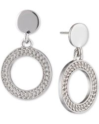 DKNY - Textured Drop Hoop Earrings - Lyst