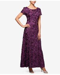 Alex Evenings - Petite A-line Rosette Dress - Lyst