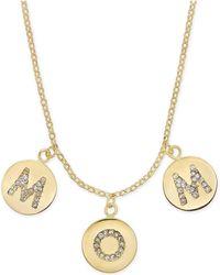 "Kate Spade - Gold-tone Pavé Mom Charm Pendant Necklace, 17"" + 3"" Extender - Lyst"