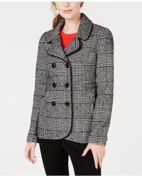 Maison Jules - Plaid Peacoat Jacket, Created For Macy's - Lyst