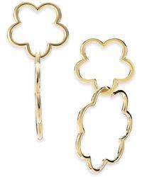 Kate Spade - 14k Gold-plated Scalloped Flower Interlocking Drop Earrings - Lyst