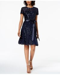 R & M Richards - Sash-belt Sequined Mesh Dress - Lyst