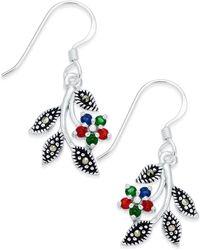 Macy's - Cubic Zirconia & Marcasite Drop Earrings In Fine Silver-plate - Lyst