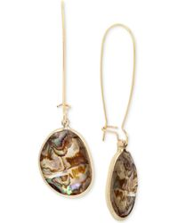 Kenneth Cole - Gold-tone Abalone Stone Drop Earrings - Lyst