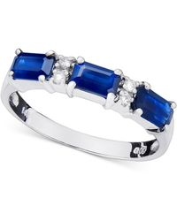 Macy's | 14k White Gold Ring, Sapphire (1ct T.w.) And Diamond Accent | Lyst