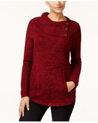 Style & Co. | Petite Button-detail Envelope-neck Sweater | Lyst