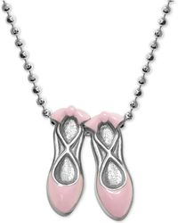 "Alex Woo - Pink Enamel Ballet Slipper 16"" Pendant Necklace In Sterling Silver - Lyst"