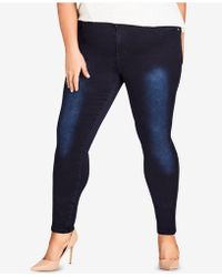 City Chic - Trendy Plus Size Ultra-skinny Jeans - Lyst