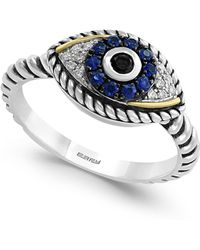 Effy Collection - Sapphire (1/5 Ct. T.w.) And Diamond (1/6 Ct. T.w.) Evil Eye Ring In Sterling Silver & 18k Gold - Lyst