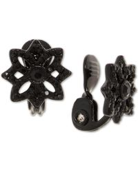 Anne Klein - Black-tone Crystal Openwork Flower Clip-on Button Earrings, Created For Macy's - Lyst