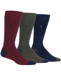 Lyst - Polo Ralph Lauren Contrast Heel Toe Socks in Pink for Men dccf60d8ee1