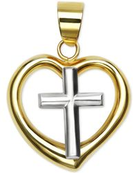 Macy's - Polished Two-tone Heart Cross Pendant In 14k Yellow And White Gold - Lyst
