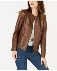 Style & Co. - Perforated Garment-dyed Faux-leather Jacket, Created For Macy's - Lyst