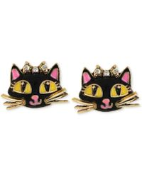 Betsey Johnson - Antique Gold-tone Cat Stud Earrings - Lyst