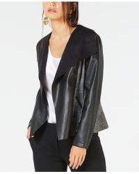Alfani - Faux-leather Draped Side-panel Jacket, Created For Macy's - Lyst